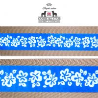 MARTINGALE DOG COLLAR - HIBISCUS FLOWERS ON ROYAL BLUE